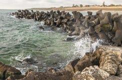 Dam on the Black Sea coast Royalty Free Stock Photo