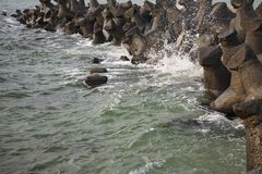 Dam on the Black Sea coast Royalty Free Stock Images
