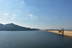 Dam with blue sky and cloudes Royalty Free Stock Image