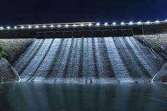 Dam in blue tone at night Stock Photography