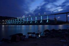 Dam and bridge. Big Dam bridge on Arkansas river in Little Rock Royalty Free Stock Images