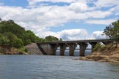Dam at Broken Bow Lake. View of the dam at Broken Bow Lake in Oklahoma royalty free stock image