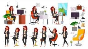 Dam Character Vector för affärskvinna Funktionsduglig kvinnlig i handling IT Start Affär Företag Kontorist In Office Clothes stock illustrationer