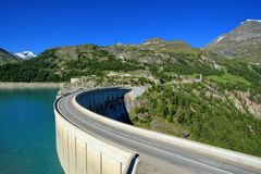 Dam of Chevril or Tignes and Mont-Pourri, France Stock Images