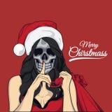 Dam christmass i czaszka zdjęcie royalty free