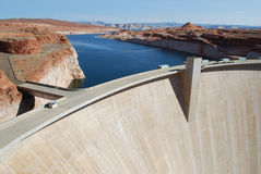 Dam on Colorado River. Glen Canyon Dam on the Colorado River at the beginning of the Grand Canyon and the end of Lake Powell, Utah/Arizona border USA, North Royalty Free Stock Images