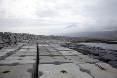 Dam concrete blocks in port of Lajes do Pico, Azores Stock Image