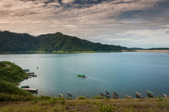 Dam is for the construction of a large dam water,from Khun dan p Stock Image