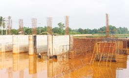 Dam construction site after rainstorm. Stock Photography