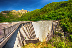 Dam of Contra Verzasca near Locarno in Ticino, Switzerland Stock Photo