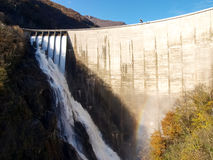 Dam of Contra Verzasca, spectacular waterfalls stock image