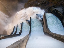 Dam of Contra Verzasca, spectacular waterfalls Royalty Free Stock Photo