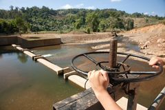 Dam control wheel Royalty Free Stock Image