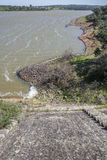 Dam of Cornalvo Reservoir from top of the wall, Extremadura, Spa Stock Photo