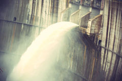 Dam discharge flood water Stock Photos