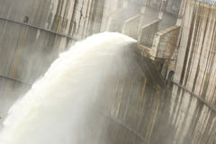 Dam discharge water Royalty Free Stock Photo