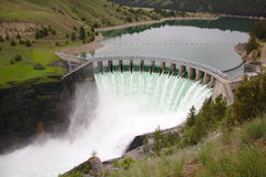 Dam on Dynamic Montana River Stock Photos