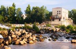 Dam at Ebro river. Logrono Royalty Free Stock Photography