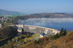 Dam of the Edersee with Fog Royalty Free Stock Photography