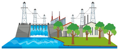 Dam and electricity buildings by the river Stock Photography