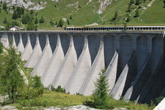 Dam of Fedaia lake Royalty Free Stock Photo