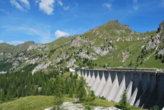 Dam of Fedaia lake Stock Photo