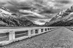 On the dam of Fedaia Lake Stock Photo