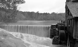 Dam Flow at Yates Mill Pond stock image