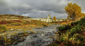 Dam in Forollhogna national park, Norway Royalty Free Stock Photography