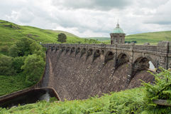 Dam front in the Elan valley of Wales. Royalty Free Stock Images