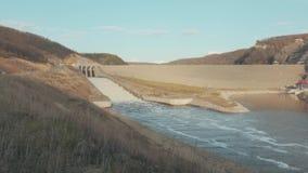 Dam gate in evening stock video