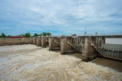 Flood, Rayong, Thailand, Accidents and Disasters, Architecture. Dam gate in evening The Pa Sak Cholasit Dam Project is one of the major irrigation projects of Stock Image