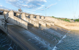 Dam gate in evening time. Dam gate in evening, The Pa Sak Cholasit Dam Project is one of the major irrigation projects of Thailand,. The dam also decreases stock photo