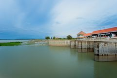 Water, Flood, Waterfall, Thailand, Dam. Dam gate on morning, The Pa Sak Cholasit Dam Project is one of the major irrigation projects of Thailand,. The dam also stock photos