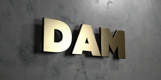 Dam - Gold sign mounted on glossy marble wall  - 3D rendered royalty free stock illustration Royalty Free Stock Images