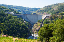 Dam of  hydro-electric power station  of Belesar. Galicia, Spain Royalty Free Stock Images