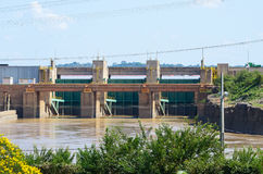 Dam of hydroelectric plant of Santo Antonio in Porto Velho. PORTO VELHO, BRAZIL - JUNE 16, 2017: Dam of hydroelectric plant of Santo Antonio in Porto Velho city royalty free stock images