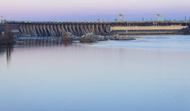 Dam hydroelectric power industry. Horizontal shot, topic - industrial objects Royalty Free Stock Image