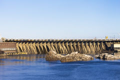Dam hydroelectric power industry. Horizontal shot, topic - industrial objects Royalty Free Stock Images