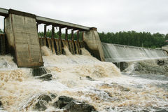 Dam of a hydroelectric power station. On a karelian river, Russia Royalty Free Stock Photo