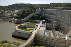 Dam of a hydroelectric power station Royalty Free Stock Images