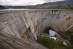 Dam of the hydroelectric power station. View from the top of the dam of the hydroelectric power station Stock Photos