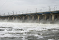 Dam of a hydroelectric power station. On Volga river, Russia Stock Photo