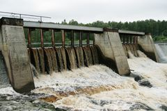 Dam of a hydroelectric power station. On a karelian river, Russia Royalty Free Stock Photos