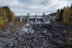 Dam of the hydroelectric power station in Imatra. Old dam and spillway of the hydroelectric power station in Imatra (Imatrankoski), Finland Royalty Free Stock Photos