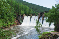 The dam is the  hydroelectric power station Royalty Free Stock Photography