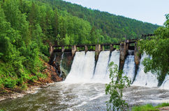 Dam is the  hydroelectric power station Stock Photography