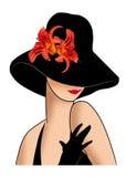 Dam i en hatt med röda liljor Arkivbild