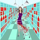 Dam i supermarket med vagnen och ordshopping inom den Royaltyfri Fotografi