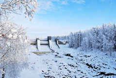 Dam in Imatra, Finland. Dam on the famous waterfall Imatrankoski. Imatra, Finland Stock Images
